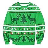 Discountl - Suéter con capucha para Navidad, tamaño grande, cuello redondo, suelto, camiseta, jersey, para adolescentes y niñas, para mujeres, disfraces de Navidad 019. XL