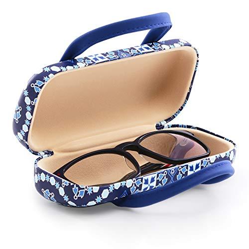 PracticDomus - Funda Rígida Universal para Gafas con Sistema de Cierre Flex y Asas Flexibles, Interior Forrado en Símil de Terciopelo. Colección Arabesque