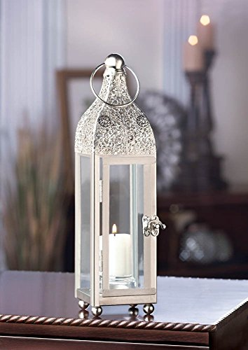 Slim Silver Chic Moroccan Shabby Candle Holder Small Lantern Wedding Centerpiece