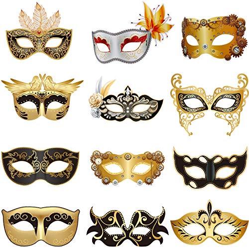 Set de 12 Mscaras Venecianas Mecnicas Mscara de Mascarada de Mardi Gras para Carnaval Baile de Graduacin Mscaras Steampunk Retro, para Fiesta de Disfraz de Mardi Gras pera Halloween