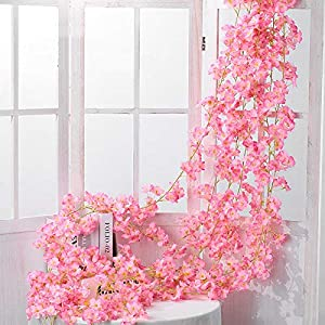 Shiwaki 2PCS 180cm/70inch Artificial Flower Cherry Blossom Rattan Wedding Cherry Blossom Rattan String Decoration Hanging Decorative Flower Cherry Blossom Rattan-Dark Pink