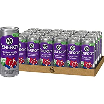 V8 +Energy Healthy Energy Drink Steady Energy from Black and Green Tea Pomegranate Blueberry 8 Ounce Can