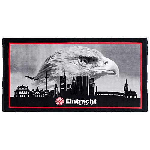 Eintracht Frankfurt Badetuch, Duschtuch, Strandtuch Skyline SGE - Plus Lesezeichen I Love Frankfurt