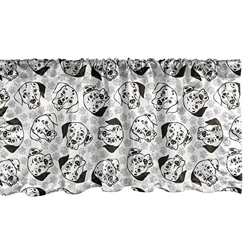 """Lunarable Dalmatian Window Valance, Dog Breed with Black Spots Face Simple Paws Fun Character Friend, Curtain Valance for Kitchen Bedroom Decor with Rod Pocket, 54"""" X 18"""", Grey White"""