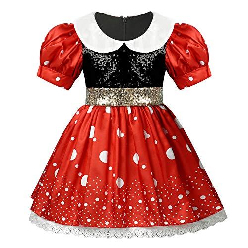 dPois NIas Vestido de Fiesta Tut Princesa Vestido con Lentejuelas Manga Corta Disfraz de Princesa Fiesta Carnaval Actuacin Nias Infantil Rojo 3-4 aos