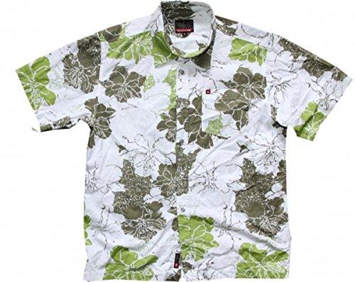 Quiksilver Skateboard Hemd White/Green Flowers- Hawaii Hemd, Grösse:S