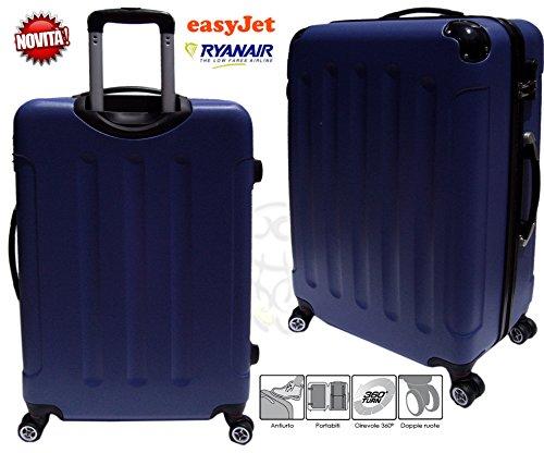 trolley Bagaglio a mano per voli low cost in abs rigido 4 ruote movimento 360° asta estensibile MISURE cm. 54×38×20 (blu)