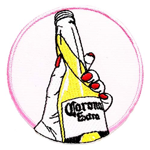 PP Patch Hand Hold Alcohol Bottles Drink Party Celebrate Cartoon Embroidered Sew Iron on Patch Applique for Gifts Crafts Jeans T-Shirt hat Clothing Fabric Costume