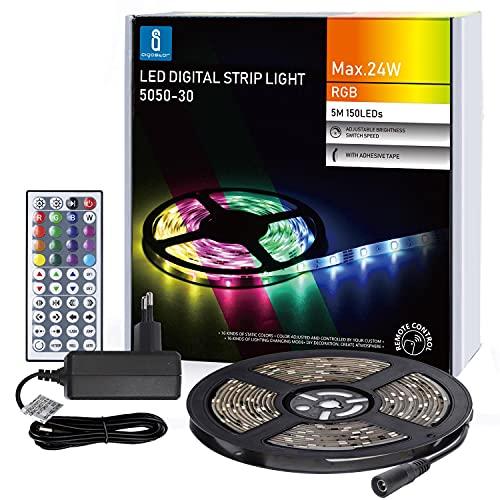 Aigostar - Tira LED RGB con Mando a Distancia, 12 Modos de Iluminación, IP65 Impermeable Habitacion Tira LED 5M Autoadhesiva para Dormitorio, Salón, Cocina, PC y Decoración