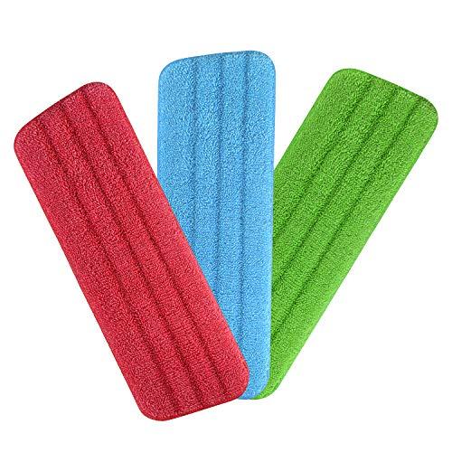 Spray Mop Mikrofaser Pads, URAQT Microfaser Reinigung Pads für Spray Mops und Reveal Mops Waschbar, 42 x 14 cm, 3 Stück