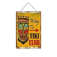 ティキクラブへの道木製のリストプラーク木の看板ぶら下げ木製絵画パーソナライズされた広告ヴィンテージウォールサイン装飾ポスターアートサイン