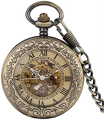 JZDH Reloj de Bolsillo Hombres Relojes mecánicos automáticos Cadena de Cobre Retro Cadena de Windering Números Romanos Regalos con Estilo Revestimiento de Lujo Reloj de Bolsillo