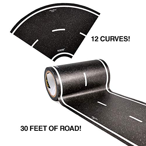 PlayTape Black Road Tape ― Includes Street Curves, Tape Toy Car Track for Kids, Sticker Roll for Cars and Train Sets, 1 Roll of 30 ft x 4 Inch Road + 12 Curves