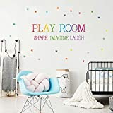 Playroom Wall Decals, H2MTOOL Removable Word Art Quotes Wall Decor Stickers with Stars for Nursery Kids Room Decoration (Playroom)