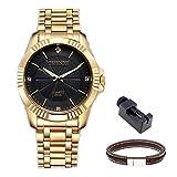 CHENXI Reloj de cuarzo de estilo clásico, analógico, con cadena de acero dorado (esfera negra)