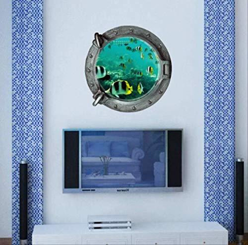 XJJSZJ Wandaufkleber DIY 3D Unterwasserwelt U-Boot Wandaufkleber Bunte Tropische Fische Kühlschrank Vinyl Kunst Home Decor Badezimmer Wandtattoo