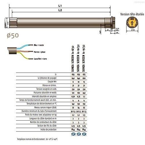Somfy 1110200 - Motor Sunea Screen IO 6/32 sterkop voor rolgordijnen binnen en buiten