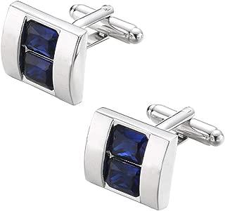 Rectangle Sapphire Blue Crystal Cufflinks Blue Crystal Gem stone Cuff links