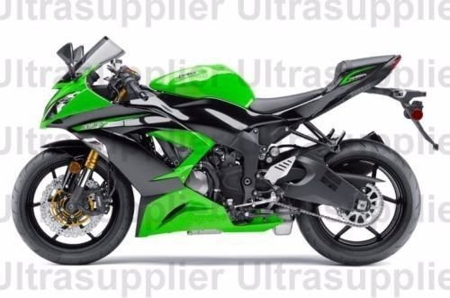 FocusAtOne Green with Black Complete Fairing Bodywork Painted ABS Plastic Injection Molding Kit for 2013-2016 Kawasaki Ninja ZX6R ZX 6R ZX-6R 2014 2015