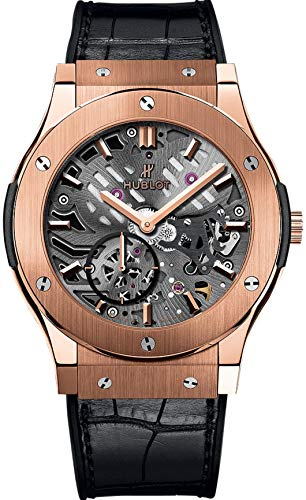 Hublot Classic Fusion Ultra Tin Automatic Skeleton Dial Black Leather Men Watch 545.OX.0180.LR
