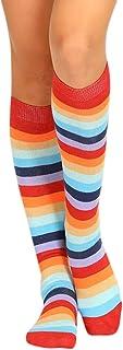 Mujeres Sexy Mediados De Tubo Calcetines Color Rayas Calcetines Largos Tobilleros Antideslizantes