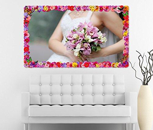 3D Wandtattoo Braut Brautkleid Blumen Freesie rosa Blume Blumen Rahmen Wandbild Tattoo Wohnzimmer Wand Aufkleber 11L865, Wandbild Größe F:ca. 162cmx97cm