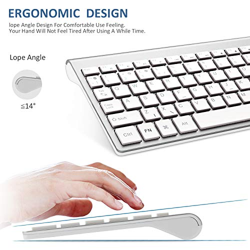 FENIFOX Wireless Keyboard & Mouse,2.4G USB Slim QWERTY UK Compact Quiet Ergonomic,For Computer PC Laptop TV Tablet,Silver White