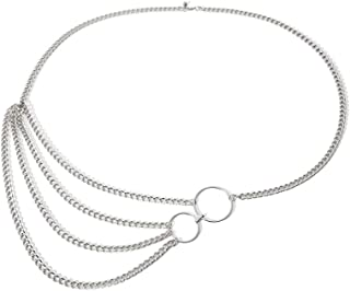 Fstrend Gorgeous Layered Body Chain Necklace Statement Circle Bikini Long Belly Waist Jewelry for Women and Girls