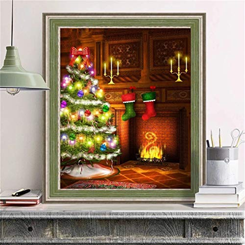 Diamond Painting Kits Full Drill Calcetines árbol Navidad 18x24in,DIY 5D pintura diamantes imitación Cristal Grande Bordado punto cruz mano Arte pared Decor Mural Regalos,Square Drill 45x60cm S145