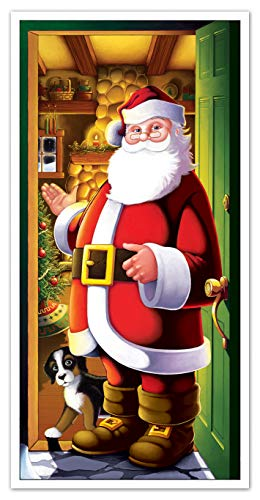Beistle Printed Plastic Indoor Outdoor Santa Claus Cover for Front Door Home Holiday Christmas Decoration, 30' x 5', Multicolor