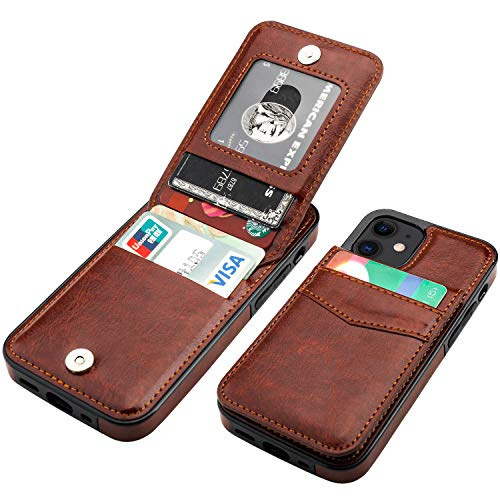 KIHUWEY Compatible with iPhone 12 Mini Case Wallet with Credit Card Holder, Premium Leather Magnetic Clasp Kickstand Heavy Duty Protective Cover for iPhone 12 Mini 5.4 Inch(Brown)