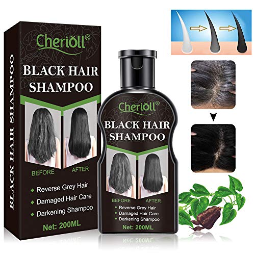 Black Hair Shampoo, Darkening Shampoo, Reverse Grey Hair, Hair Growth Shampoo, Damaged Hair Care, Volumizing & Moisturizing, Restore Lustrous and Shiny Hair, Grey Hair Shampoo for Men and Women