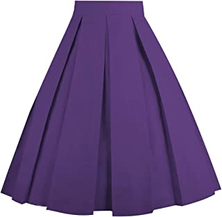 52e3b97dac73 Dresstore Vintage Pleated Skirt Floral A-line Printed Midi Skirts with  Pockets