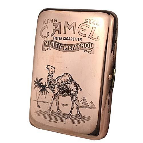Kupfer Zigarettenetui UltradüNn Oulan Kamel Wasserdicht und FeuchtigkeitsbestäNdig DruckbestäNdig Tragbare Metall-Zigarettenetui 16 StüCk,Golden,Camel