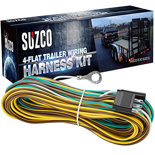 SUZCO 36 Ft 4 Wire 4-Flat Trailer Light Wiring Harness Extension Kit, Custom-Made 28' Male & 8' Female with 4' White Ground Wire, 4-Way Plug 4 Pin Male & Female Extension & Wishbone-Style & SAE J1128