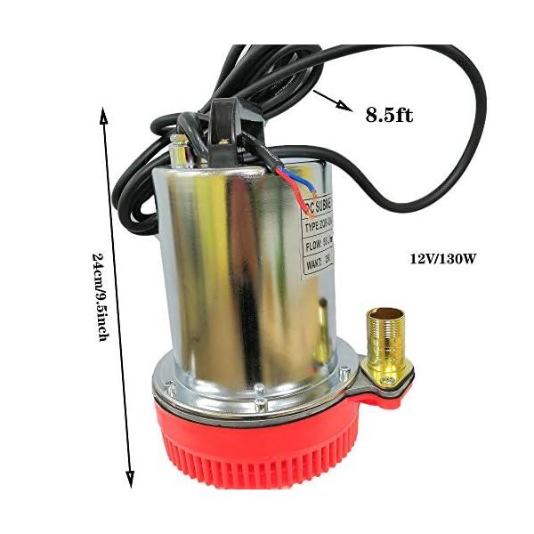 SHYLIYU Bombas de agua sumergibles 12V DC 130W Bomba solar adecuadas para bombear agua limpia sucia piscinas estanque