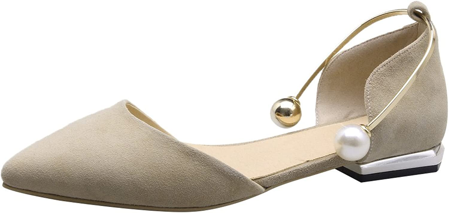 Jamron Women Classy Sheepskin O'rsay & Two-Piece Flats Stylish Elegant Pointed Toe Ballerinas with Delicate Pearls