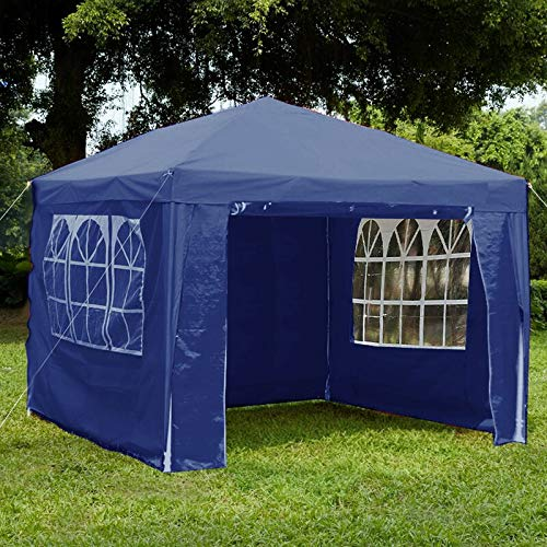 Loop 3x3m Garden Gazebo Marquee Tent with Side Panels, Fully Waterproof, Powder Coated Steel Frame for Outdoor Wedding Garden Party Blue(3mx3m)