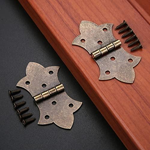 YWSZJ 2 unids Antiguo Bronce Oro Flor Bisagras DIY Muebles Hardware 6 Agujeros Hacienda de Hierro Cabina Puerta Puerta Bisagra Mariposa Y Tornillos (Color : Bronze)