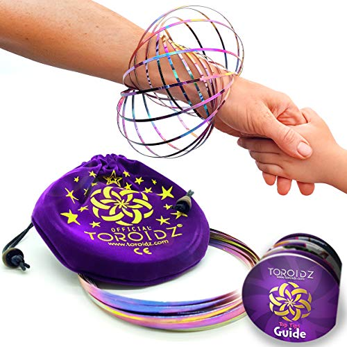 Toroidz  Flow Rings w/ Pink Travel Bag - Amazing Magic Science Toy - 3D ARM SPRING - Interactive Museum, Circus, Anti Stress, Stocking - All Ages (Rainbow / Purple Bag)