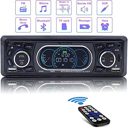 Radio Coche Autoradio Bluetooth, CompraFun Stereo Radio Manos Libres 60W x 4 Carga Rápida 12V Reproductor MP3 Función de Memoria de Doble Control Compatible MP3 / FM/Am/TF/AUX/USB