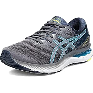 ASICS Men's Gel-Nimbus 23 Running Shoes, 10, Carrier Grey/Digital Aqua