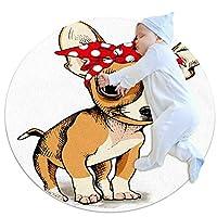 エリアラグ軽量 犬の赤と白の水玉模様のバンダナ フロアマットソフトカーペット直径39.4インチホームリビングダイニングルームベッドルーム