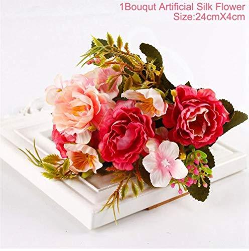 XCVB 30 cmRoos 1 Boeket 15 BloemhoofdKunstzijde Bloemtakken NepbloemenKunstbloemen Voor Decor Bruiloft, pioenroos stijl A