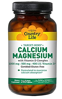Country Life Target-Mins Calcium Magnesium with Vitamin D Complex 1,000mg/500mg/400 I.U. - 240 Vegan Capsules