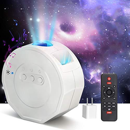PEYOU Proyector Estrellas, Proyector LED de Luz Nocturna Giratorio Estrellas Océano con Altavoz Bluetooth Temporizador Perfecto Regalo Para Bebés (Incluido el Adaptador)
