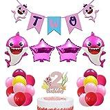 Pink Shark 2nd Birthday Decorations Girls - Shark Two Banner ,Shark Cake Topper 2 ,Shark Foil Balloons ,20pcs latex balloons for Baby Girls Second Birthday Party Supplies