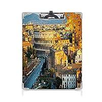クリップボード 用箋挟 クロス貼 A4 短辺とじ イタリア フォルダーボードフォルダーライティングボード (2個)ローマ円形劇場のコロッセオ古代歴史的建築イブニング装飾マリーゴールドアイボリーペールブルー