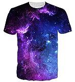 Spreadhoodie Unisex 3D Galaxia Impreso Camisetas Verano Ocasional de Manga Corta O-Cuello Superior Fuego Camisetas T Shirt Tees L