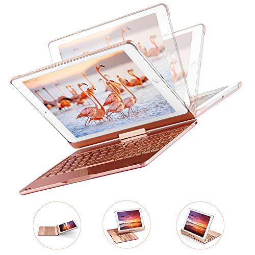MAD GIGA 3 en 1 iPad Teclado Bluetooth, Soporte para iPad, Teclado y Estuche, Bluetooth 4.0, para iPad 9.7 2018/2017, iPad Pro 9.7, iPad Air/Air 2, Luces Retroiluminadas, Rotación de 360 Grados